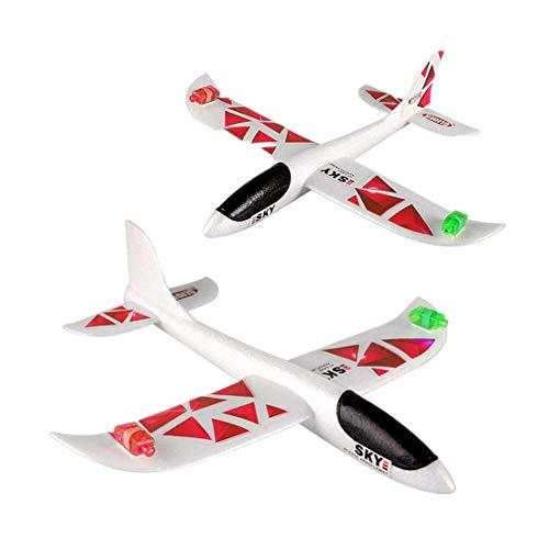 Baby Spielzeug FORH Kinder Flugzeug Spielzeug Outdoor Wurf Segelflugzeug Glider Interessant LED Schaum Werfen Flugzeuge Nachtflugzeug Hand starten Flugzeugmodell Outdoor Sport Spielzeug (C)