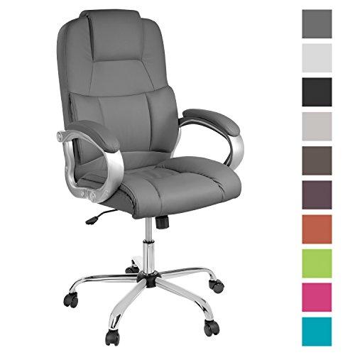 TPFLiving bequemer Premium XXL Bürostuhl Chefsessel Schreibtischstuhl DENVER grau belastbar bis 210 kg hochwertig Kunstleder Wippfunktion stabile Castor Rollen in 10 Farben wählbar