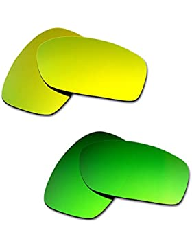 Hkuco Plus Mens Replacement Lenses For Oakley Fives Squared 24K Gold/Emerald Green Sunglasses