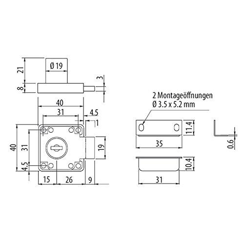 2 x SO-TECH® Möbelschloß Zylinder-Möbelschloss Aufschraubschloss