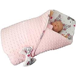 blueberryshop Minky Reversible asiento de coche para/manta para bebé (para recién nacido, color rosa