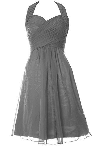 MACloth Elegant Halter Cocktail Dress Short Bridesmaid Dress Wedding Party Gown Grau