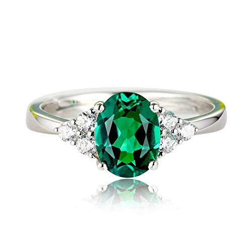 b55af191d5ae Mayanyan S925 Anillo de Plata de Ley Simple Oval Verde Jade Anillo  Ajustable Anillo de Compromiso