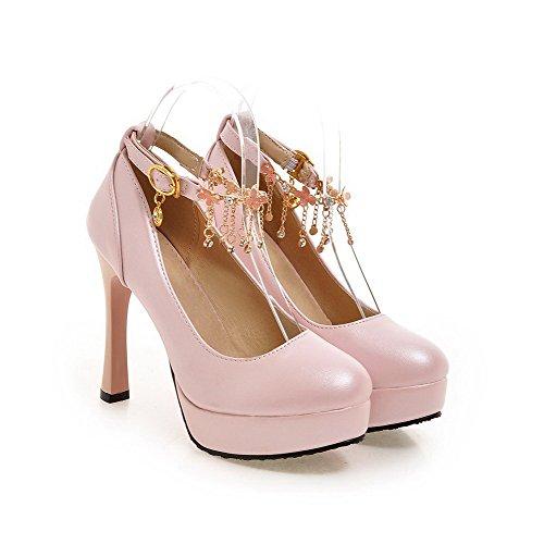 AllhqFashion Damen Pu Leder Eingelegt Schnalle Rund Zehe Hoher Absatz Pumps Schuhe Pink