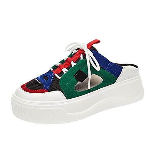 huhe Leichte Laufschuhe Atmungsaktiv Gym Schuhe Turnschuhe Trainer Outdoor Running Sneaker Shoes SchnüRschuhe Mode Freizeitschuhe FüR Damen Hohle Halbe Hausschuhe(Grün,37 EU) ()
