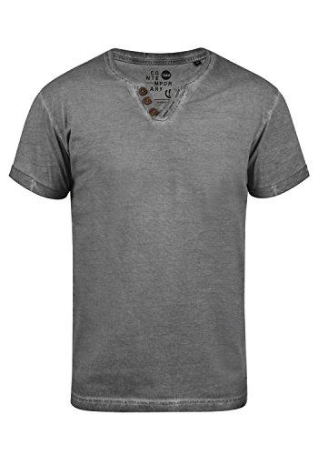 !Solid Tino Herren T-Shirt Kurzarm Shirt Mit V-Ausschnitt Aus 100% Baumwolle, Größe:L, Farbe:Dark Grey (2890) -