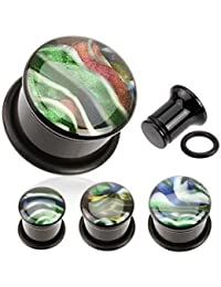 Schimmernde Muschelintarsie Kuppeloberfläche einfach ausgestellter Acryl Plug mit O-Ring