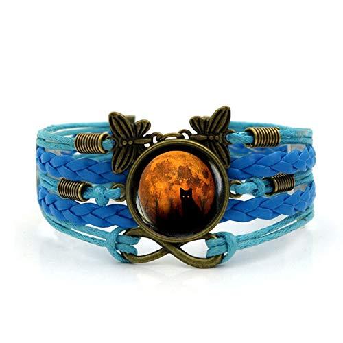 Schwarze Katze Zeit Edelstein Armband Multi-Layer-Gewebt Leder Retro Schmetterling Schmuck Herren Damen Schmuck ()