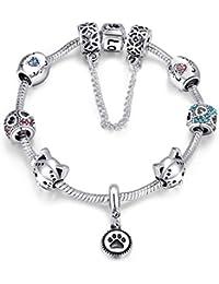 YOUFENG Jewellery Puppy Dog Charm Bracelet Bangle Charm Bracelet Pink Murano Glass Bead Birthstone Charm Bracelet for Girls