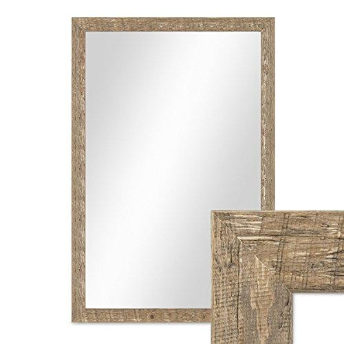 PHOTOLINI Wand-Spiegel 46x66 cm im Holzrahmen Strandhaus-Stil Eiche-Optik Rustikal/Spiegelfläche...