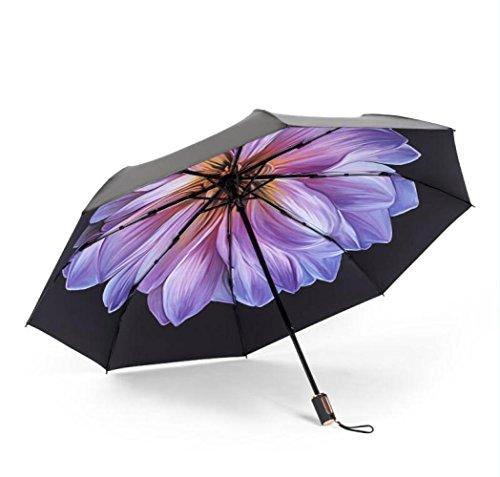 DYY Gefaltete Forest Retro Sonnenbrille mit Regenschirm Frauen Sun Regenschirm Vinyl Super UV Sonnenschutz,Charmante Lila,Dreifacher Rege