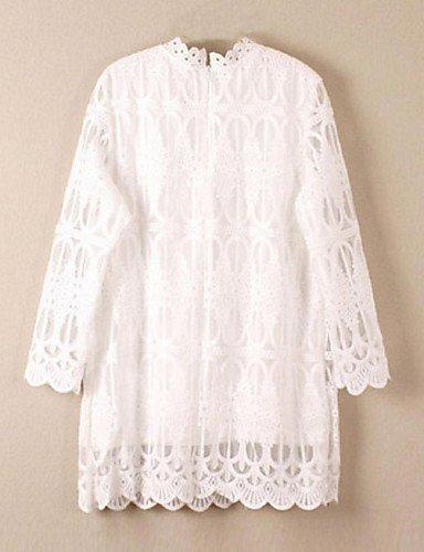 PU&PU Robe Aux femmes Ample Street Chic,Couleur Pleine Collerette Au dessus du genou Polyester WHITE-ONESIZE