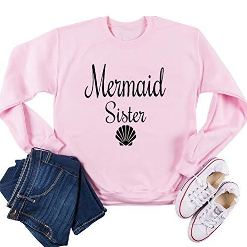 SuperCimi Frauen Sweatshirt Mermaid Sister Buchstabe Grafik Langarm lässig lustige Kostüm (Lustige Date Kostüm)