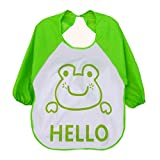 Tongshi Los niños de dibujos animados para niños plástico translúcido suave para bebés baberos impermeables(verde)