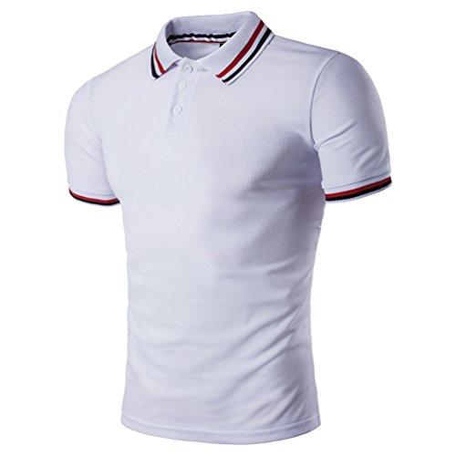 CHENGYANG Uomo Estate Casual Striscia Scollo manica corta Magliette Polo T-shirt Tops