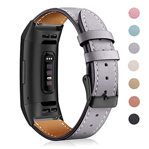 Mornex Strap Compatible Fitbit Charge 3 Strap/Charge 3 SE Leather Strap, Classic...