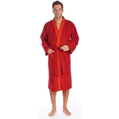 Egeria Bademantel Saunamantel Kimono 100% Baumwolle, 360 g/m² Bruno Herren Slate Grey L Crimson Herren