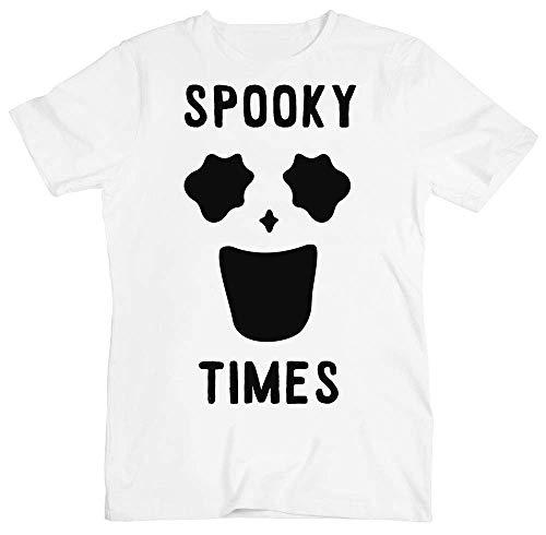 Spooky Times Funny Minimal Ghost Face Herren T-Shirt Medium