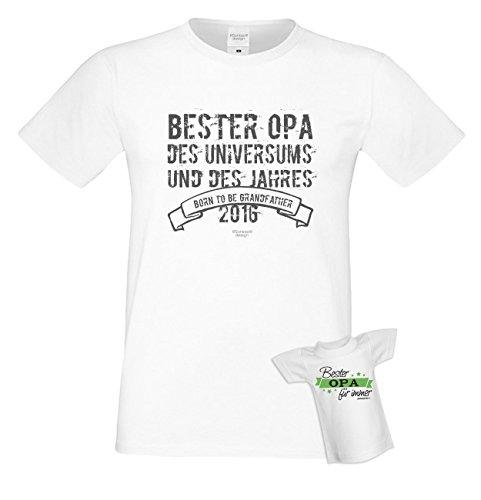 Bester Opa des Universums Papa Großvater Geschenke Set Vatertag Sprüche Fun T-Shirt & Minishirt Farbe: weiss Weiß