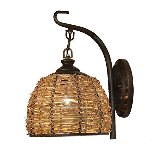 RUIXINBC Interno Vintage LED Applique Parete, tonalità Leggera di bambù Intrecciata Lanterna Lampada da Parete, Luce Notturna Adatto per caffè Soggiorno Corridoio Illuminazione