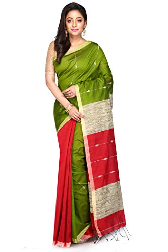 Badal Textile Green & Red Handloom Cotton Tant Silk Saree, Traditional Bengali...
