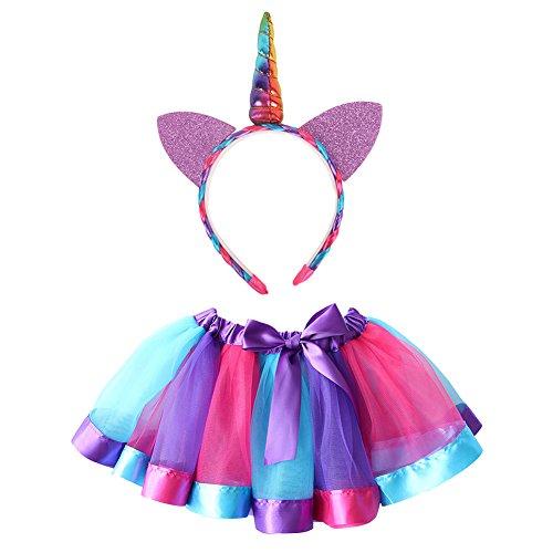et, Canvalite 2 in 1 80er Mädchen Regenbogen Set - Regenbogen Ballet Tutu, Einhorn Haarreif für Tanz Party Karneval (80 Halloween Cartoons)