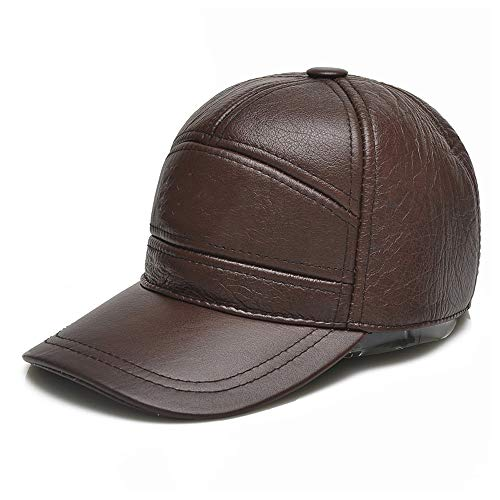 GHC Gorras y Sombreros Sombrero de Piel de Vacuno Real para Hombre, Gorra de béisbol de Cuero 100% Moda, Gorra de béisbol Simple y versátil para papá (Color : Marron Oscuro, tamaño : 56-60CM)