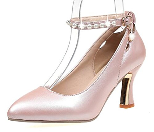 Easemax Damen Süß Künstliche Perlen Knöchelriemen Pointed Toe Pumps Pink 37 EU