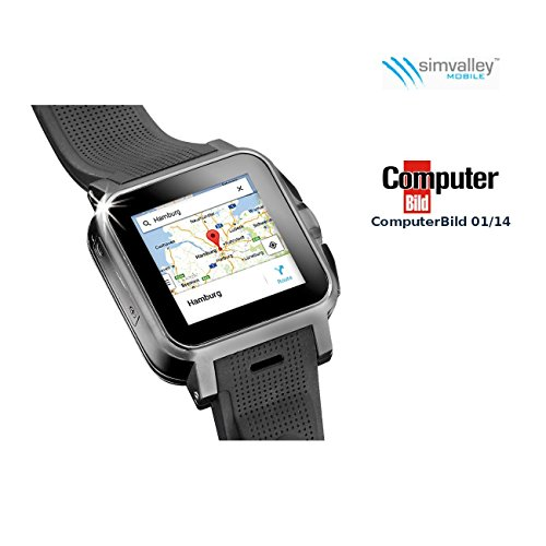 simvalley MOBILE 1.5'-Smartwatch AW-414.Go mit Android4, BT, WiFi, Cam