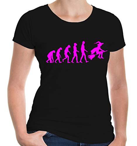 buXsbaum® Damen Kurzarm Girlie T-Shirt bedruckt The Evolution of witch   Hexe Zauberei Magie   M black-neonpink Schwarz (T-shirt Brujeria)