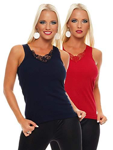 2er Pack Damen Unterwäsche mit Spitze (Unterhemd, Träger-Top, Shirt) Nr. 430 Blau-Rot