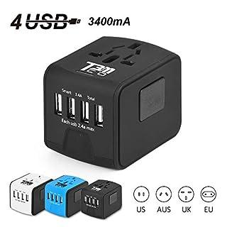 T3MCO International Travel Adapter, 3 USB Ports + Type-C/4 USB Ports, UK, EU, AUS, USA (4 USB, BLACK)