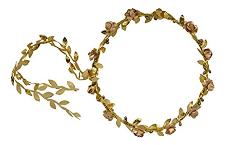 Boho Ladies Floral Flower Festival Wedding Garland Hair Head Band (Gold)