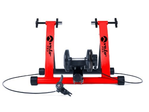 Velo Pro Magnetic Turbo Trainer Variable Resistance Indoor Bike Trainer for Road and Mountain Bicycles (Red)