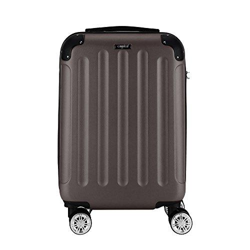 Sunydeal Valise cabine ABS renforcé ultra légère Voyage transport bagage cabine Bagage à main 5 couleurs Valise rigide 4 roues double multidirectionnelles - ( L-75x46.5x29cm ) - Café