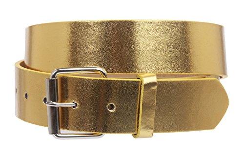 beltiscool '11/2(38mm) fijación a presión Plain Jean cinturón de piel con hebilla - Dorado - Large- 97 cm~ 102 cm