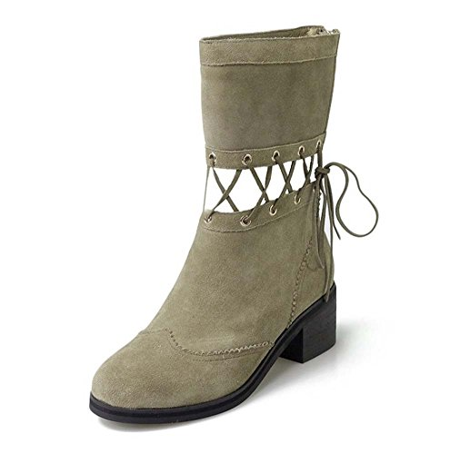 Donne Punk Cavaliere Boots Autunno Casual Cuoio Frosted Cuoio Stivaletto Lace-up Cross Khaki