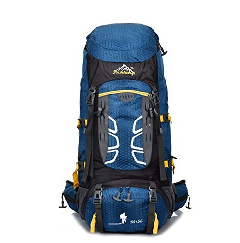 Campeggio Trekking Outdoor alpinismo parapioggia borsa zaino grande capacità per uomini e donne 50 L + 5 L , light green deep blue