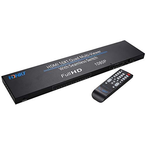 HDMI Splitter 1x16 60Hz UHD Ultra HD HDMI 2.0 HDCP 2.2 HEVC kompatibel 16-Fach EDID ,Quad-Core-Multiscreen-Display mit nahtlosem Umschalter für HD-TV-Video (Schwarz) 1.3 Video Splitter