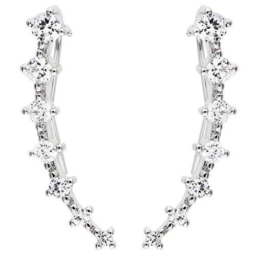 MYA art Damen Ohrringe Ohrklemme 925 Sterling Silber mit Swarovski Elements 7 Stars Ear Cuff Weiß MYASIOHR-47 (Gothic Ear Cuff)
