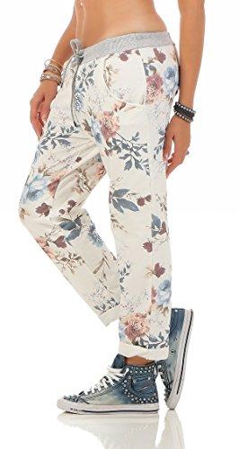 ZARMEXX Damen Sweatpants Baggy Hose Boyfriend Freizeithose Sporthose All-Over Roses Print One Size Floral 1