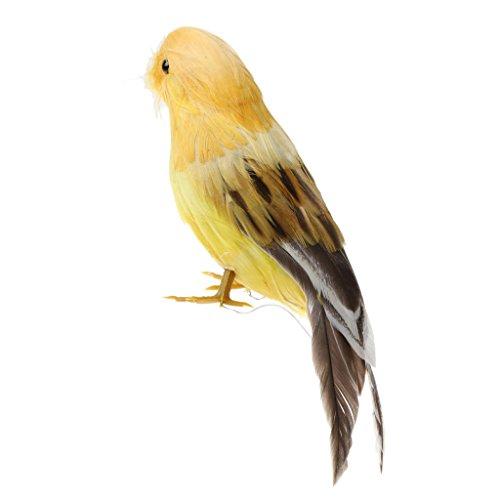 Mini Vogel Feder Dekovogel Kunstvogel Figuren Modell Dekor - Orange Gelb, 12cm ()