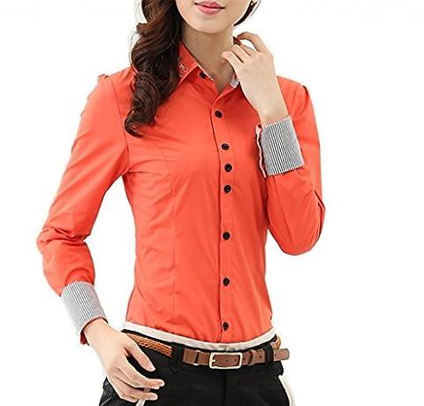 Femme Chemise Elégant Diamante Moulante Commercial Blouse Simplicité Col Boutonné Manches Longues Orange Asiatique L (FR