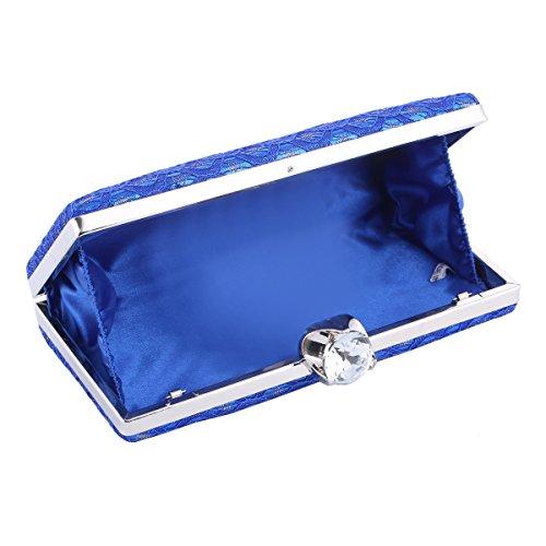 Damara® Edle Damen Satin Kristall Diamant Abendtasche Mit Spitze Stoff Silber
