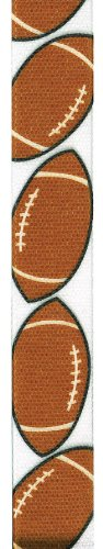 Offray Grosgrain Football Craft Ribbon, 7/8-Inch Wide by 25-Yard Spool, Brown/White by Offray Offray Spool