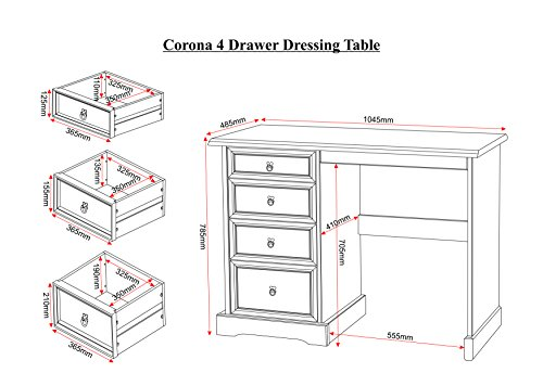 Corona 4 Drawer Dressing Table Set in Distressed Waxed Pine