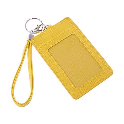 Sqiuxia Niedliches Leder-Kreditkarten-Etui mit Schlüsselanhänger, für Studenten (2 Kartenfächer, 1 transparentes Fenster, gelb)
