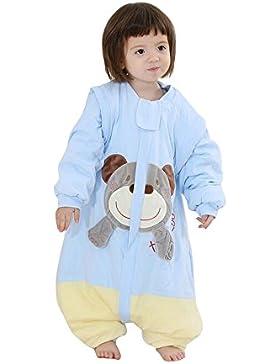 kinder Schlafsack langarm winter babySchlafsack mit Füßen,Affe Baumwolle Junge Mädchen unisex Schlafanzug。75cm...