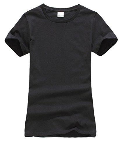 Smile YKK Femme Sweat-shirt T-shirt Tops Couleurs Bonbons Manches Courte Uni Col Rond de Sport Noir XL