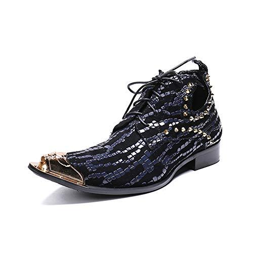 a47fab828a909d HNM Boots Uomo Stivali da Cowboy Stivali di Pelle Stringate Scarpe di Pelle  Metallo Punta a